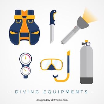 Equipamiento de submarinismo en diseño plano