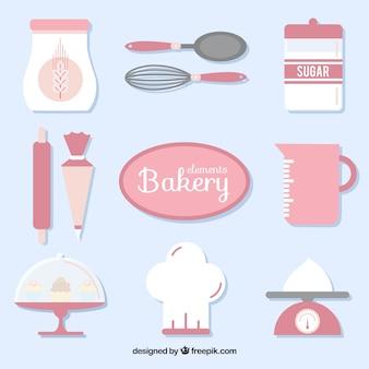 Equipamiento de utensilios de panadería en color rosa