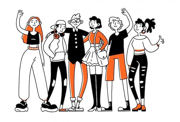 Equipo de amigos adolescentes