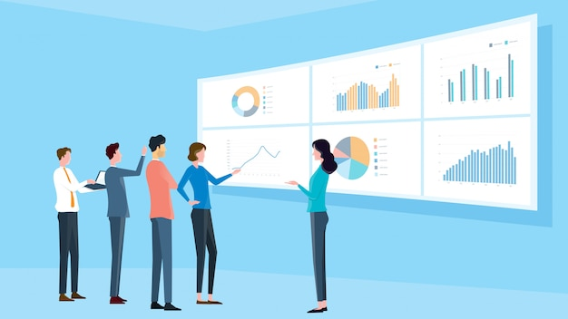Equipo analítico de negocios reunión y concepto de formación de proyecto de finanzas