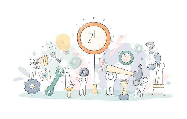 Equipo de apoyo. doodle dibujos animados hombrecitos y herramientas. ilustración de vector dibujado a mano para diseño de negocios.
