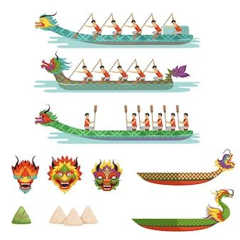 Equipo de atletas masculinos compiten en dragon boat festival ilustraciones sobre un fondo blanco.
