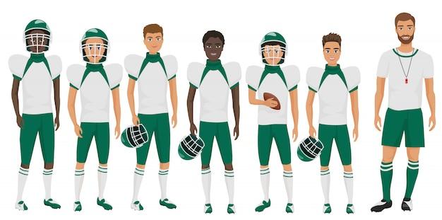 Equipo de baloncesto de la escuela chicos de pie con su entrenador entrenador. ilustración plana de dibujos animados