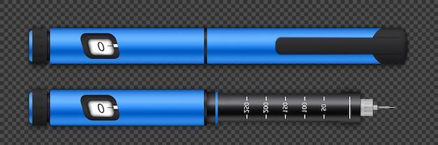 Equipo de bolígrafos de insulina, nivel de glucosa en sangre.
