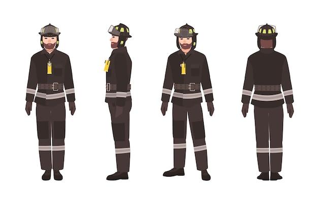 Equipo de bomberos con ropa protectora y casco.