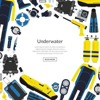 Equipo de buceo submarino con espacio vacío redondo para texto.