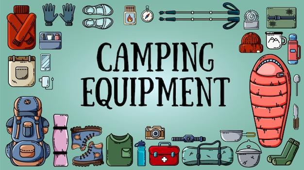 Equipo de camping banner con conjunto de artículos turísticos.