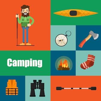 Equipo de camping personaje e íconos