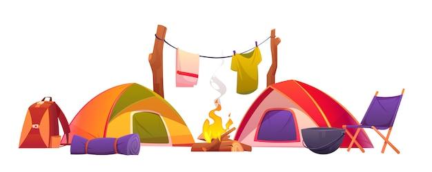 Equipo de camping y senderismo, carpas y herramientas.