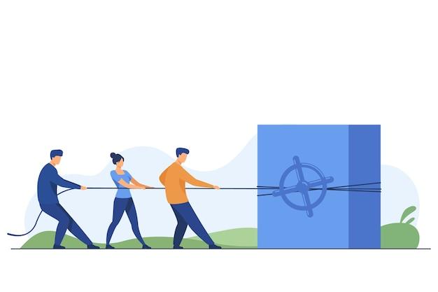 Equipo de captación de inversión y capital. gente tirando de la cuerda, caja fuerte de acero, ilustración de vector plano de dinero. finanzas, ahorro, concepto de beneficio