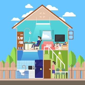 Equipo de casa conjunto de vectores
