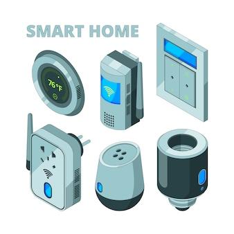 Equipo de casa inteligente, sensores de movimiento, toma de corriente, cámara de seguridad isométrica