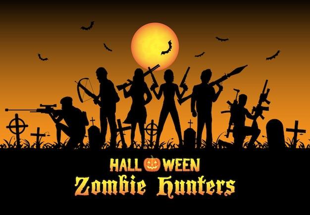 Equipo de cazadores de zombis de halloween en el cementerio