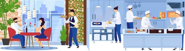 El equipo del chef del restaurante cocina en la cocina, el camarero sirve a las personas en una cita romántica, ilustración