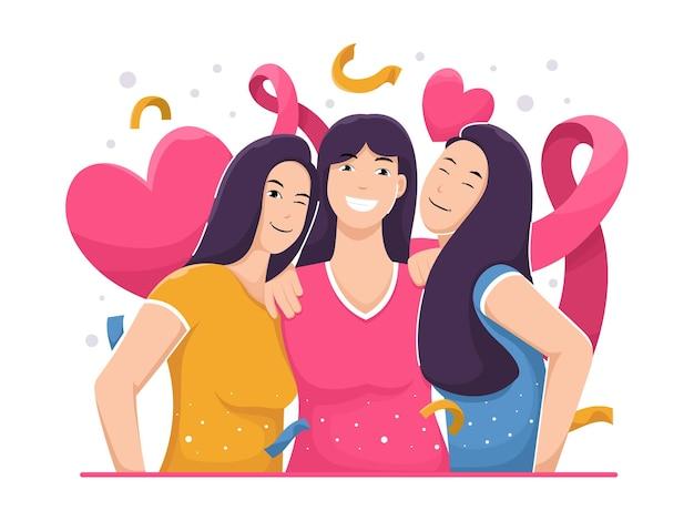 Equipo de chicas abrazo amistad fow día de la mujer ilustración plana