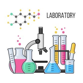 Equipo de ciencia en laboratorio de química.