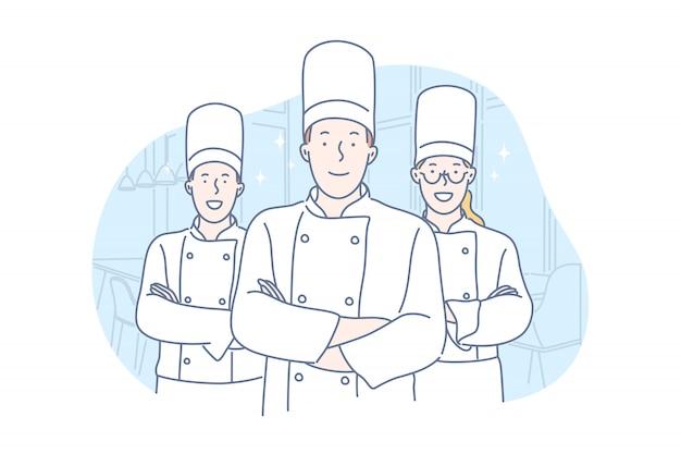 Equipo, cocina, concepto de restaurante.