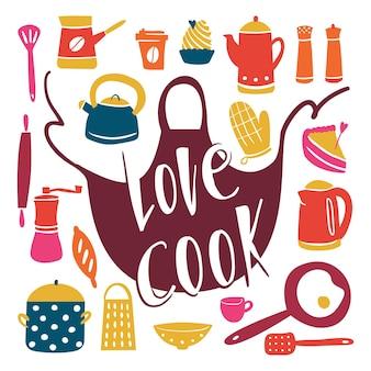 Equipo de cocina estilo doodle diferentes herramientas de cocina