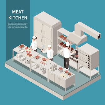 Equipo de cocina industrial composición isométrica con cocineros profesionales que cortan para hornear, asar, freír carne en el rango