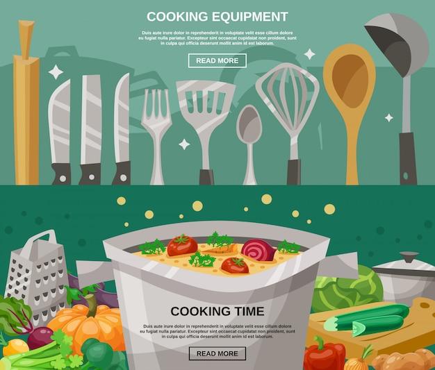 Equipo de cocina y juego de banners de tiempo