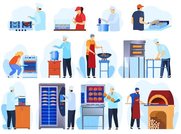 Equipo de cocina para restaurante, cocina profesional, conjunto de panadería de ilustración.