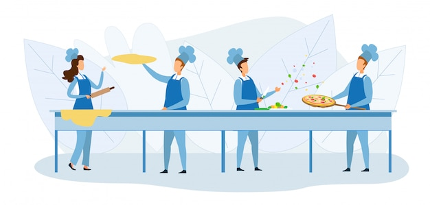 Equipo de cocineros preparando pizza juntos ilustración