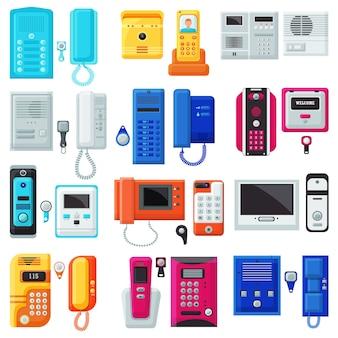 Equipo de comunicación a domicilio de vector de intercomunicación en conjunto de ilustración de casa