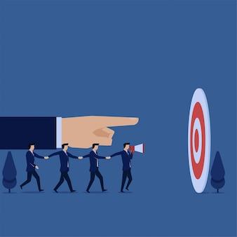 Equipo de concepto plano empresarial caminar de la mano para apuntar a la metáfora del trabajo en equipo.