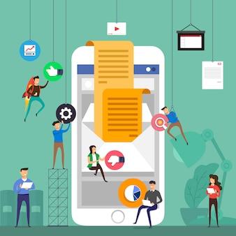 Equipo de concepto que trabaja para crear marketing por correo electrónico en dispositivos móviles. ilustrar.