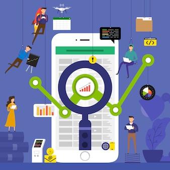 Equipo de concepto trabajando para datos de análisis de tecnología en dispositivos móviles. ilustrar.