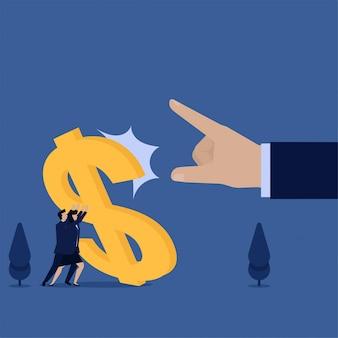Equipo de concepto de vector plano empresarial mantenga metáfora de signo de dólar caído de crisis e inflación.