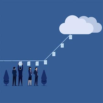 El equipo de concepto de vector plano de negocios puso documentos en el envío de la cuerda a la metáfora de la nube de enviar archivos en línea.