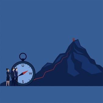 Equipo de concepto de vector plano de negocios ve camino a la cima de la metáfora de la montaña de la forma de éxito.