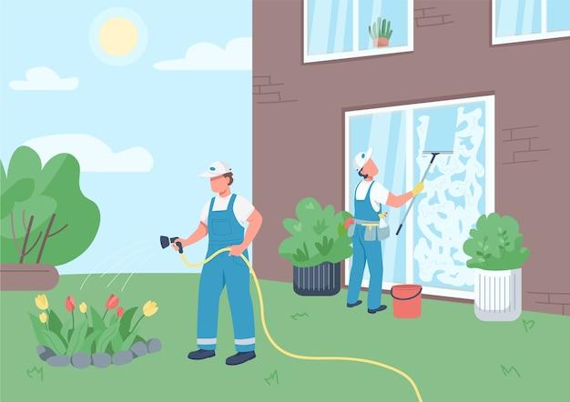 Equipo de conserjes limpieza color plano de la casa. amas de llaves profesionales personajes de dibujos animados en 2d con la construcción de fondo. limpiadores lavando ventanas y regando flores