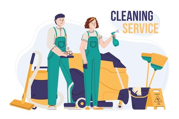 Equipo de conserjes o limpiadores con equipo profesional.