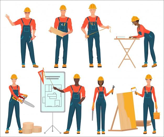 Equipo de construcción masculino y femenino.