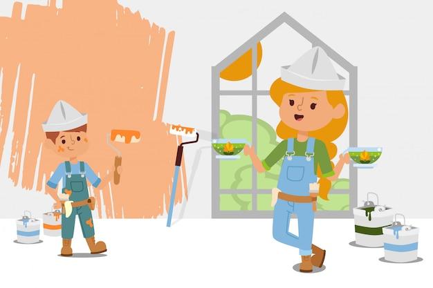 El equipo de construcción toma un descanso en el té adentro, ilustración. chica trajo té de hierbas en tazas transparentes, pintura manchada de chico