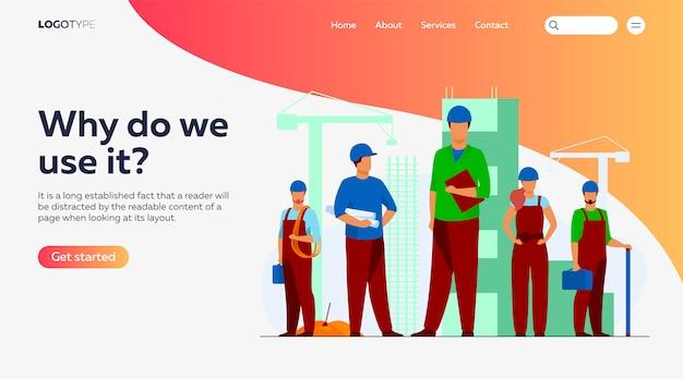 Equipo de construcción trabajando en la plantilla de página de destino del sitio