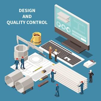 Equipo de control de la industria del metal y composición isométrica de los trabajadores de la fundición 3d ilustración vectorial