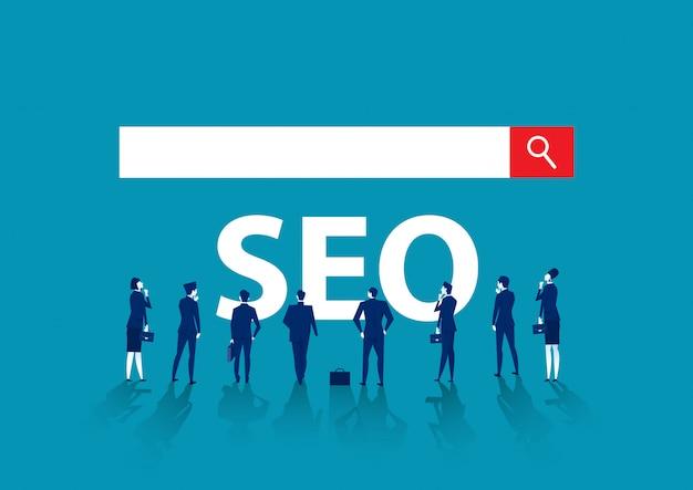 Equipo de cooperación empresarial serch seo banner de internet para negocios web