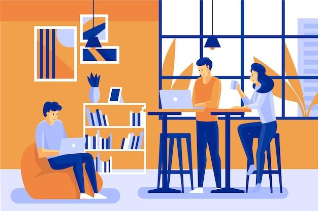 Equipo de coworking en interiores personajes de dibujos animados