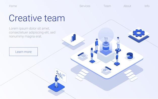 Equipo creativo banner página de inicio del proceso de negocios