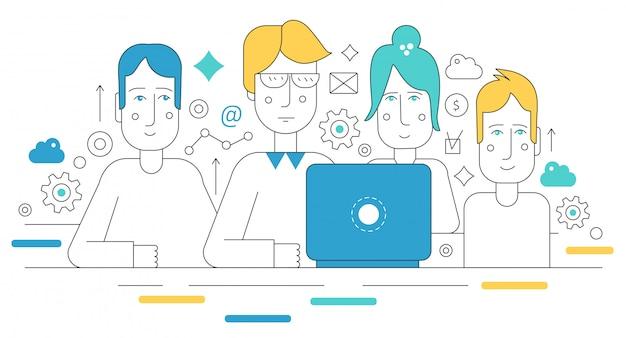 Equipo creativo de concepto de coworking.