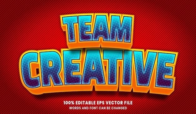 Equipo creativo efecto de estilo de texto editable 3d