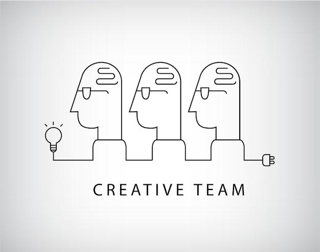 Equipo creativo, logo del grupo de trabajo, lineal.