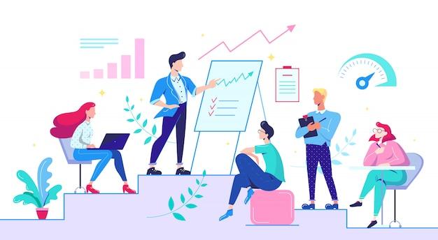 Equipo creativo durante la reunión en el lugar de trabajo. ilustración plana