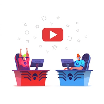 Equipo de cybersport jugando juegos en línea con streaming