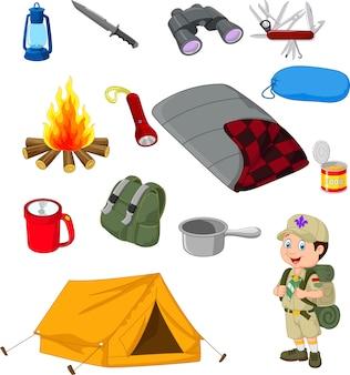 Equipo de camping de senderismo