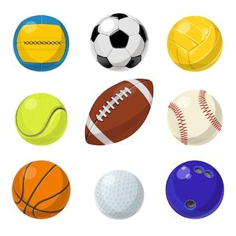 Equipo de deporte. diferentes bolas en estilo de dibujos animados.
