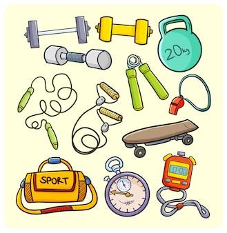 Equipo de deporte y gimnasio en estilo simple doodle